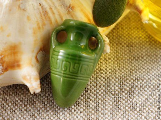 Для украшений ручной работы. Ярмарка Мастеров - ручная работа. Купить Аромакулон керамический №8 (зеленый). Handmade. Аромакулон, ароматерапия