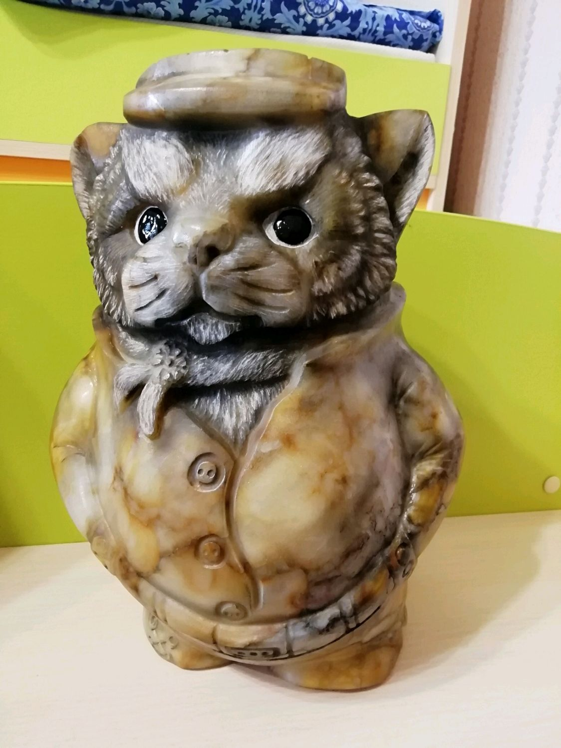 Sculpture cat 'Deputy' from the Ural stone Anhydrite, Figurines, Horde,  Фото №1