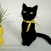 Куклы и игрушки handmade. Livemaster - original item Portrait cat night, cat, kitty, black cat wool Cat. Handmade.