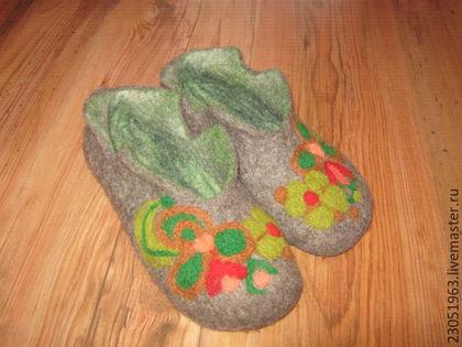 Обувь ручной работы. Ярмарка Мастеров - ручная работа. Купить Тапочки из шерсти. Handmade. Комбинированный, тапки валяные