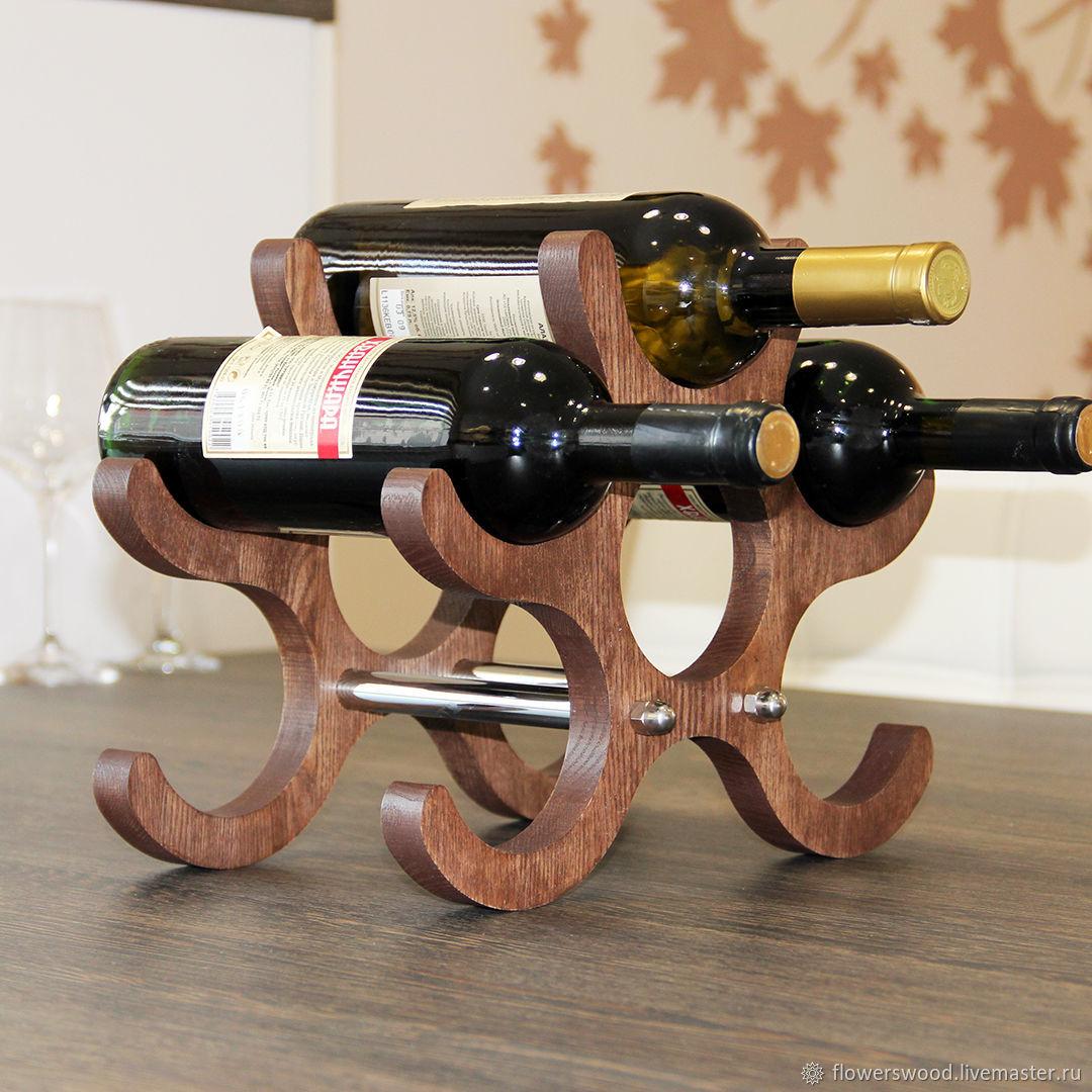 Стеллаж-полка из натурального дерева для 6 бутылок вина, Стеллажи, Воронеж,  Фото №1