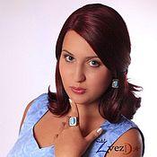 Украшения handmade. Livemaster - original item Silver jewelry set earrings and ring with Armenian turquoise.. Handmade.