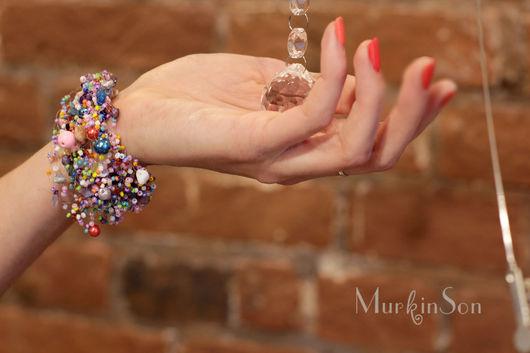 Браслеты ручной работы. Ярмарка Мастеров - ручная работа. Купить Браслет Lilac. Handmade. Коричневый, для нее, яркие украшения, браслет из бисера