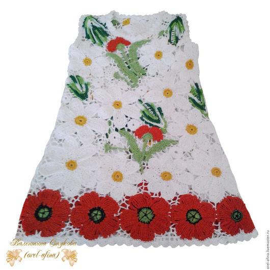 """Одежда для девочек, ручной работы. Ярмарка Мастеров - ручная работа. Купить Вязаный комплек детское  платье""""Лесная поляна"""" 2 с косынкой и сумочкой. Handmade."""