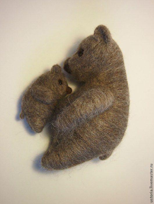 Игрушки животные, ручной работы. Ярмарка Мастеров - ручная работа. Купить Медведица с медвежонком. Handmade. Коричневый, медведик, Теплота
