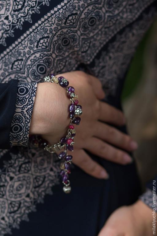 """Браслеты ручной работы. Ярмарка Мастеров - ручная работа. Купить Серебряный браслет """" Purple Haze"""" серебро, рубины,  цитрины. Handmade."""