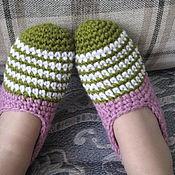 Обувь ручной работы. Ярмарка Мастеров - ручная работа Тапки следки из толстой теплой пряжи. Handmade.