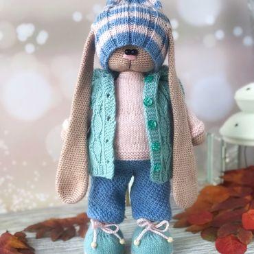 Куклы и игрушки ручной работы. Ярмарка Мастеров - ручная работа Вязаный мальчик-зайчик в стиле Тильда. Handmade.