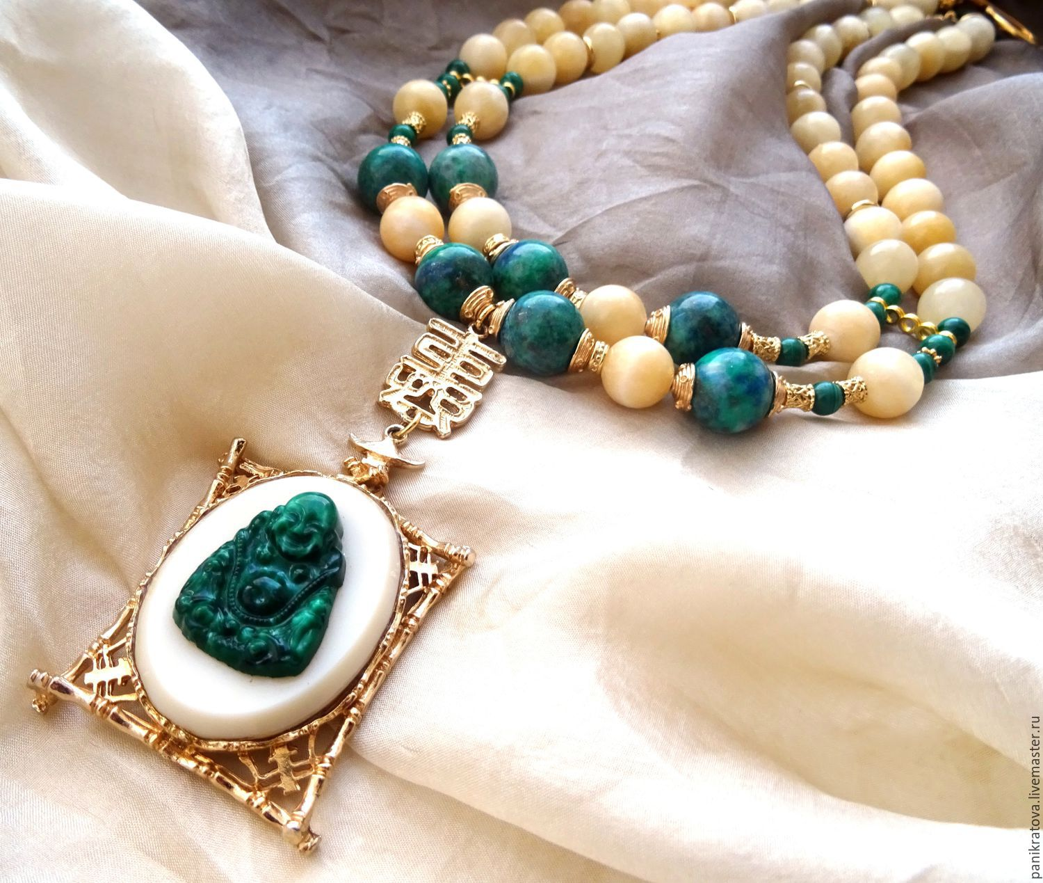 Necklace 'Golden bamboo' (azurite, malachite, calcite, vintage), Necklace, Moscow,  Фото №1