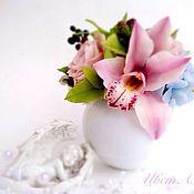 Композиции ручной работы. Ярмарка Мастеров - ручная работа Розовый букет с орхидеей. Холодный фарфор. Handmade.