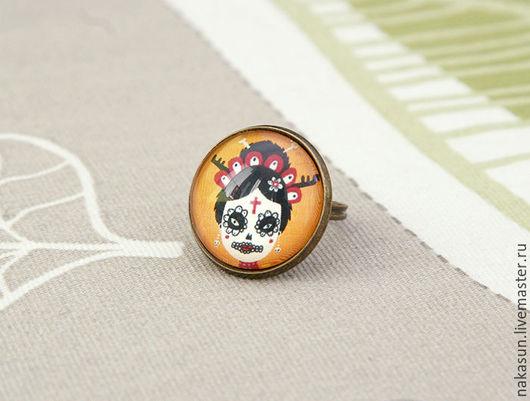 Кольца ручной работы. Ярмарка Мастеров - ручная работа. Купить Кольцо Девушка на карнавале. Handmade. Комбинированный, оранжевый, la muerte