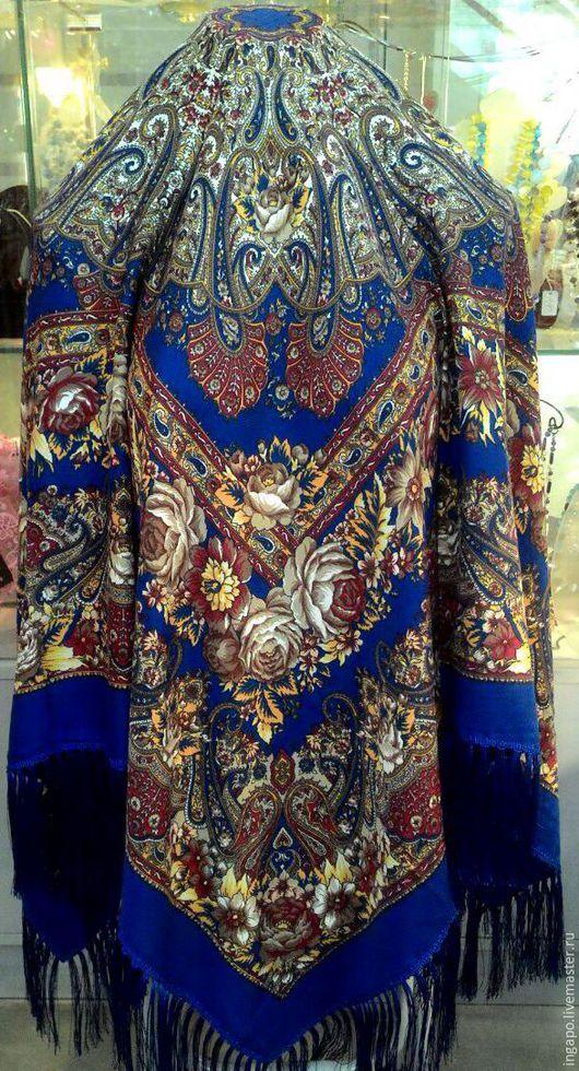 """Шитье ручной работы. Ярмарка Мастеров - ручная работа. Купить Русский платок """"Русские узоры"""" синий. Handmade. Синий"""