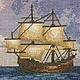 """Пейзаж ручной работы. Вышивка крестом. Картина """"Корабль в море"""". Ирина. Интернет-магазин Ярмарка Мастеров. Вышитая картина, скалы"""