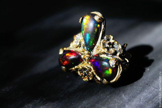 """Кольца ручной работы. Ярмарка Мастеров - ручная работа. Купить Кольцо """" Черное золото"""" (благородный черный опал,серебро,позолота). Handmade."""