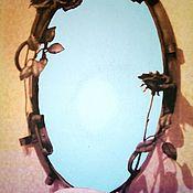 """Для дома и интерьера ручной работы. Ярмарка Мастеров - ручная работа Зеркало в кованой оправе """"Розы"""". Handmade."""
