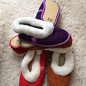 Обувь ручной работы handmade. Livemaster - original item Sheepskin Slippers with soft soles. Handmade.