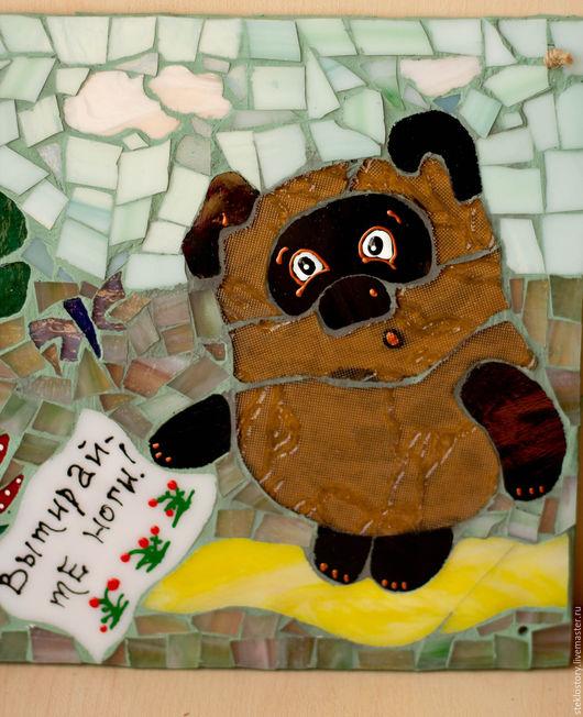 """Экстерьер и дача ручной работы. Ярмарка Мастеров - ручная работа. Купить Мозаичная табличка на вход в дом """"Винни Пух. Вытирайте ноги!"""". Handmade."""