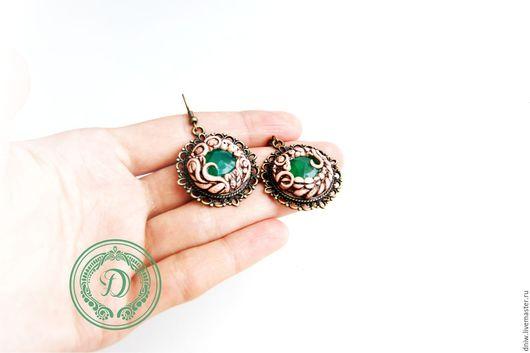"""Серьги ручной работы. Ярмарка Мастеров - ручная работа. Купить Серьги """"Emerald"""". Handmade. Зеленый, оникс натуральный"""
