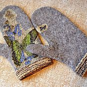 Аксессуары ручной работы. Ярмарка Мастеров - ручная работа Варежки валяные с бабочками. Handmade.