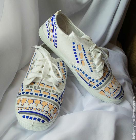 """Обувь ручной работы. Ярмарка Мастеров - ручная работа. Купить Кеды женские  """"Геометрия"""", кеды с рисунком, роспись кед.. Handmade."""