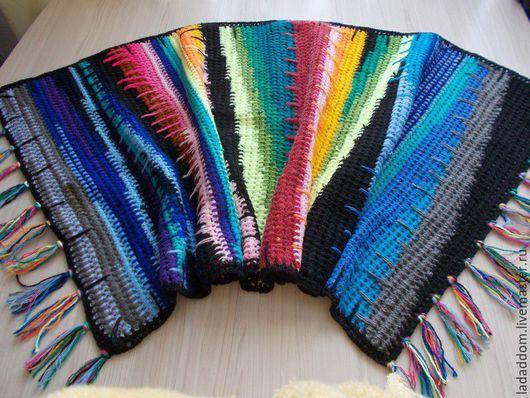 Текстиль, ковры ручной работы. Ярмарка Мастеров - ручная работа. Купить Ковер-половик радужный. Handmade. Разноцветный, акриловая пряжа
