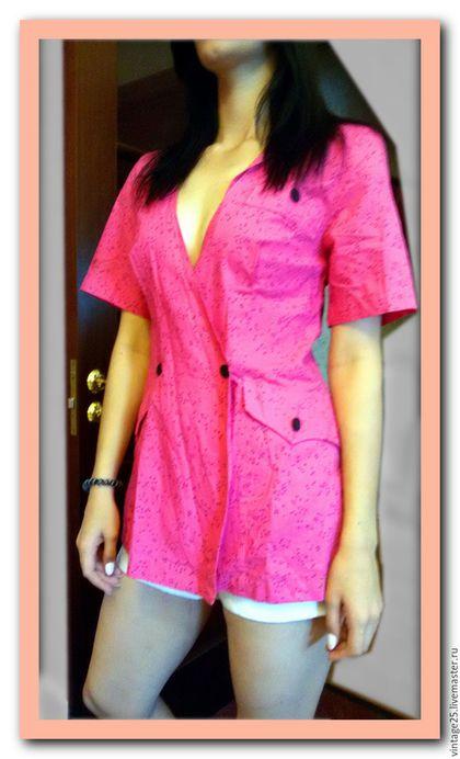 Одежда. Ярмарка Мастеров - ручная работа. Купить Винтажный жакет хлопок 48-50. Handmade. Розовый, винтажный пиджак