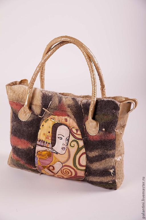 Женские сумки ручной работы. Ярмарка Мастеров - ручная работа. Купить Ожидание сумка валяная+ кожа страуса. Handmade.