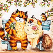 """Картины и панно ручной работы. Ярмарка Мастеров - ручная работа """"Кот и кошка"""". Handmade."""