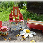 Куклы и игрушки ручной работы. Ярмарка Мастеров - ручная работа Набор кукольной мебели для ванной комнаты. Handmade.
