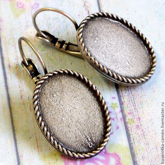 Для украшений ручной работы. Ярмарка Мастеров - ручная работа. Купить Основа для сережек Косичка 13х18мм, Израиль, античное серебро. Handmade.