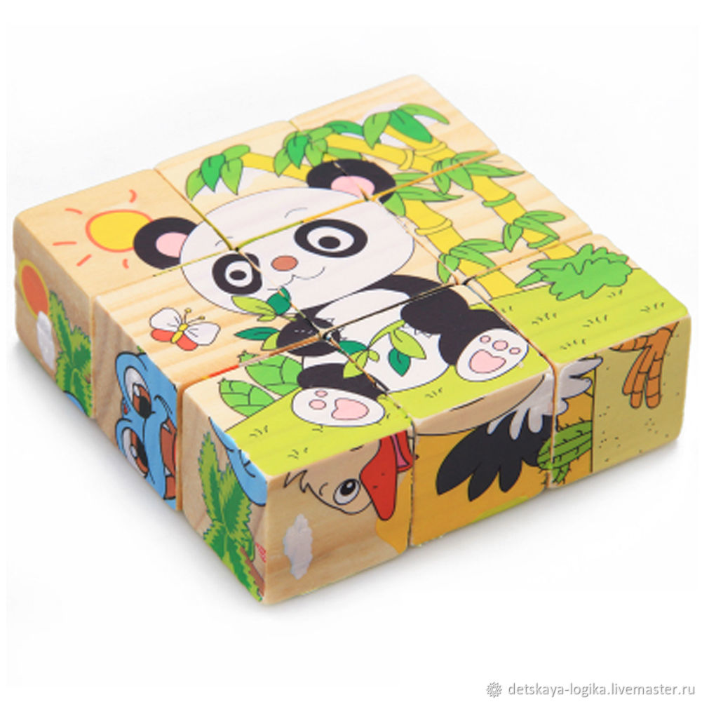 Деревянные кубики с картинкой панда, Кубики и книжки, Старый Оскол,  Фото №1