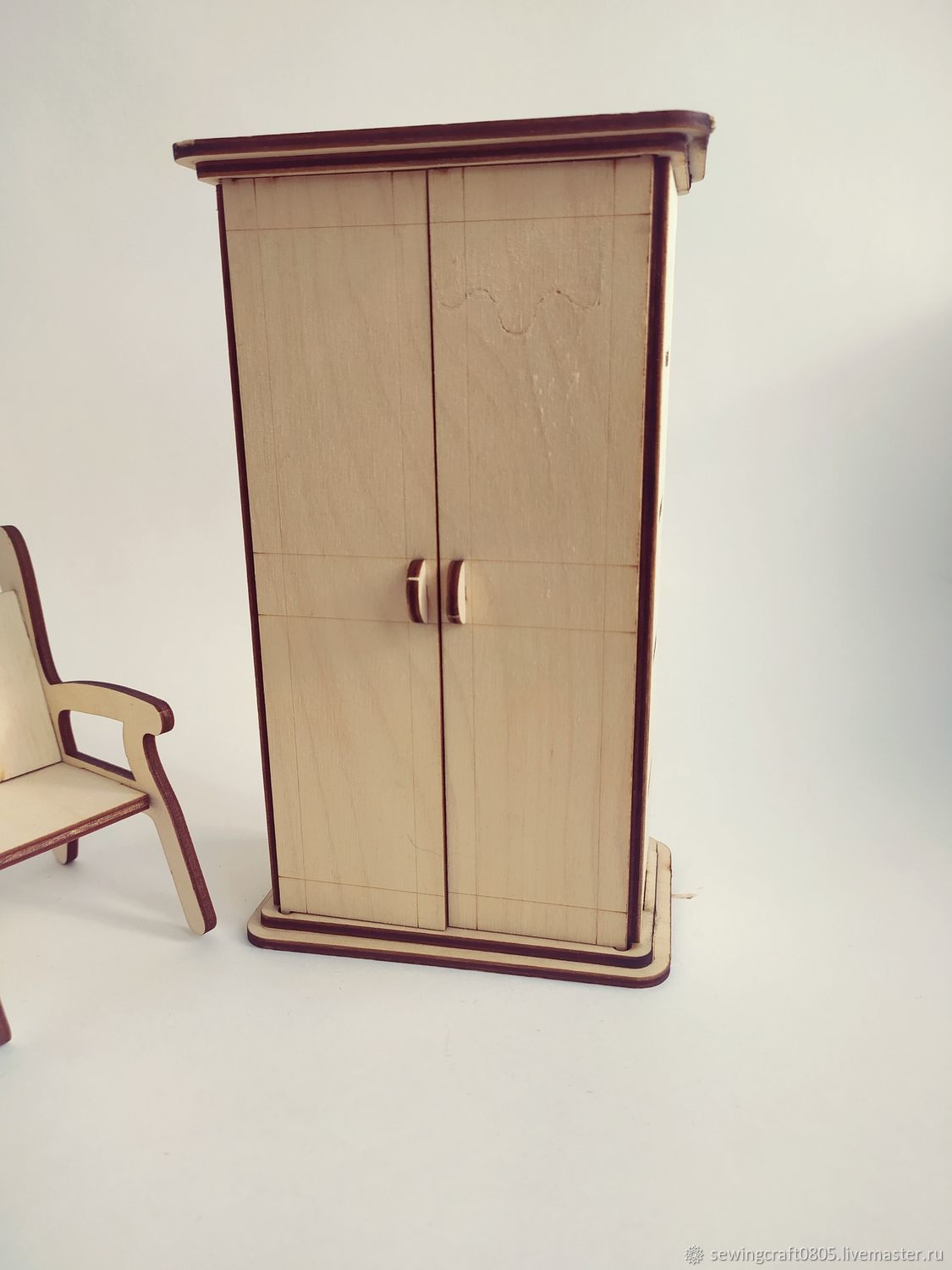 Wardrobe for dolls. Blank from plywood 3 mm, Doll furniture, St. Petersburg,  Фото №1