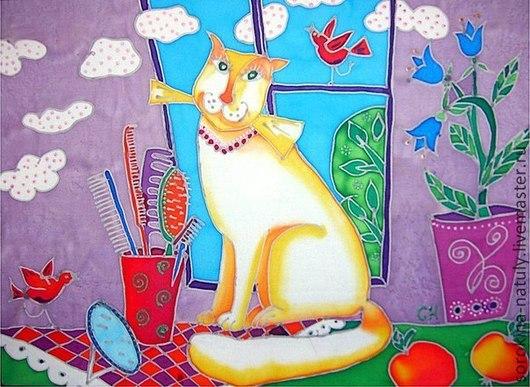 Картина батик Кошка мечтательница. Сорокина Наталья.  Картина отлично подойдёт для всех гламурных кошечек.