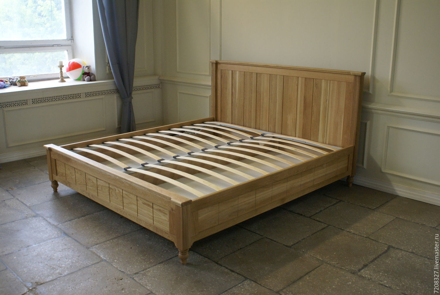 Bed With Lifting Mechanismmade Of Natural Oak Environmentally Friendly Production