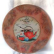 """Для дома и интерьера ручной работы. Ярмарка Мастеров - ручная работа часы настенные круглые"""" Упал цветочек со стола"""". Handmade."""