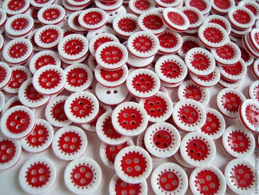 Шитье ручной работы. Ярмарка Мастеров - ручная работа. Купить Пуговицы пластиковые красно-белые № 2. Handmade. Пуговицы