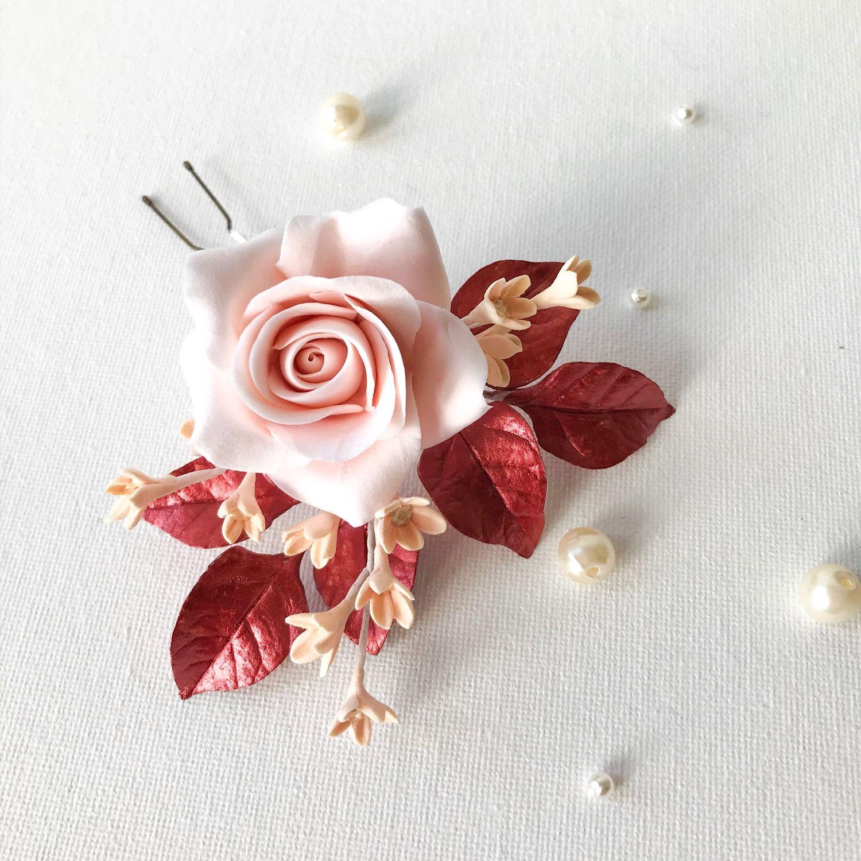 Шпилька для причёски, с розой и красными листьями, Украшения, Воскресенск,  Фото №1