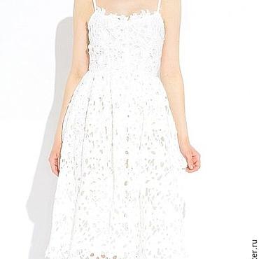 Одежда ручной работы. Ярмарка Мастеров - ручная работа Белоснежное кружевное платье, размер М (на 44-46). Handmade.