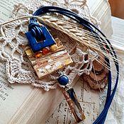 Украшения handmade. Livemaster - original item Ceramic pendant with amber. Handmade.