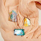 """Брошь-булавка ручной работы. Ярмарка Мастеров - ручная работа Брошь-булавка: Эмалевые брошки """"Карамельные домики"""". Handmade."""