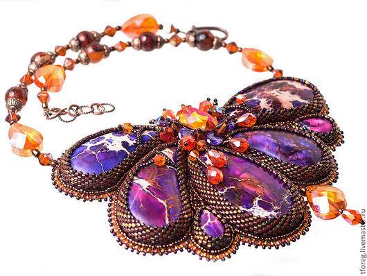 Колье, бусы ручной работы. Ярмарка Мастеров - ручная работа. Купить Колье Purple flower. Handmade. Фиолетовый, swarovski crystal
