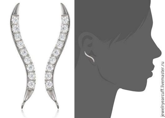 Серьги пины из серебра 925 пробы или ear pin от Stepan Vasiliev Jewelry.  Ярмарка мастеров-ручная работа. Купить серьги пины серебро 925. Серьги пины великолепно подгибаются подо все ушки.