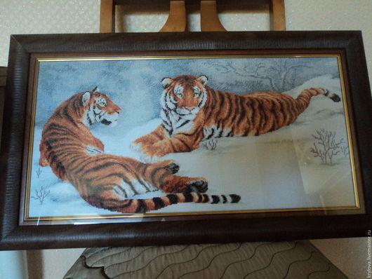 Животные ручной работы. Ярмарка Мастеров - ручная работа. Купить Амурские тигры. Handmade. Тигры, животные, мулине мадейра (madeira)