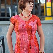 Одежда ручной работы. Ярмарка Мастеров - ручная работа Коралл платье валяное из шерсти мериноса и шелка. Handmade.