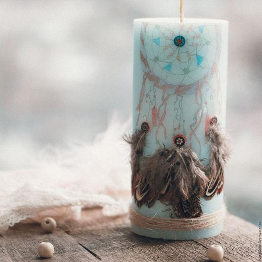 """Свечи ручной работы. Ярмарка Мастеров - ручная работа. Купить Свеча """"Ловец снов"""". Handmade. Голубой, интерьерные свечи, фитиль"""