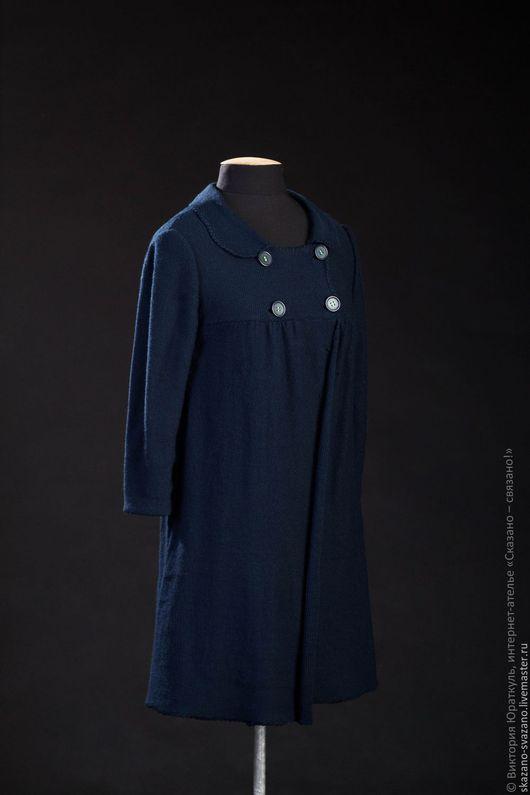 Кофты и свитера ручной работы. Ярмарка Мастеров - ручная работа. Купить Пальто женское. Handmade. Тёмно-синий, вязанный кардиган