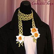 Аксессуары ручной работы. Ярмарка Мастеров - ручная работа Летний шарфик с цветами нарцисса, шарф-украшение, галстук. Handmade.