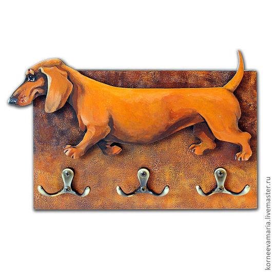 """Аксессуары для собак, ручной работы. Ярмарка Мастеров - ручная работа. Купить Ключница-вешалка """"Такса"""". Handmade. Рыжий, вешалка-ключница"""