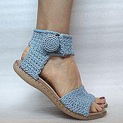 Обувь ручной работы. Ярмарка Мастеров - ручная работа Сандалии  вязаные, бохо, голубой, хлопок. Handmade.
