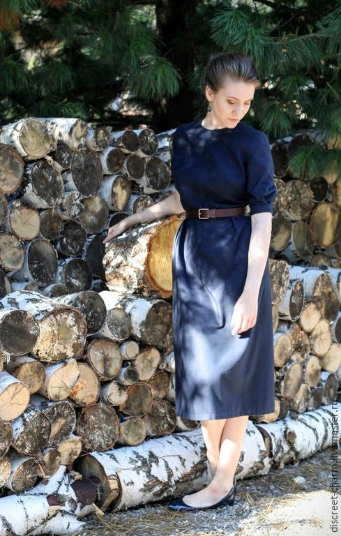 Платья ручной работы. Ярмарка Мастеров - ручная работа. Купить Скромное тёмно-синее платье, зимнее теплое платье. Handmade.